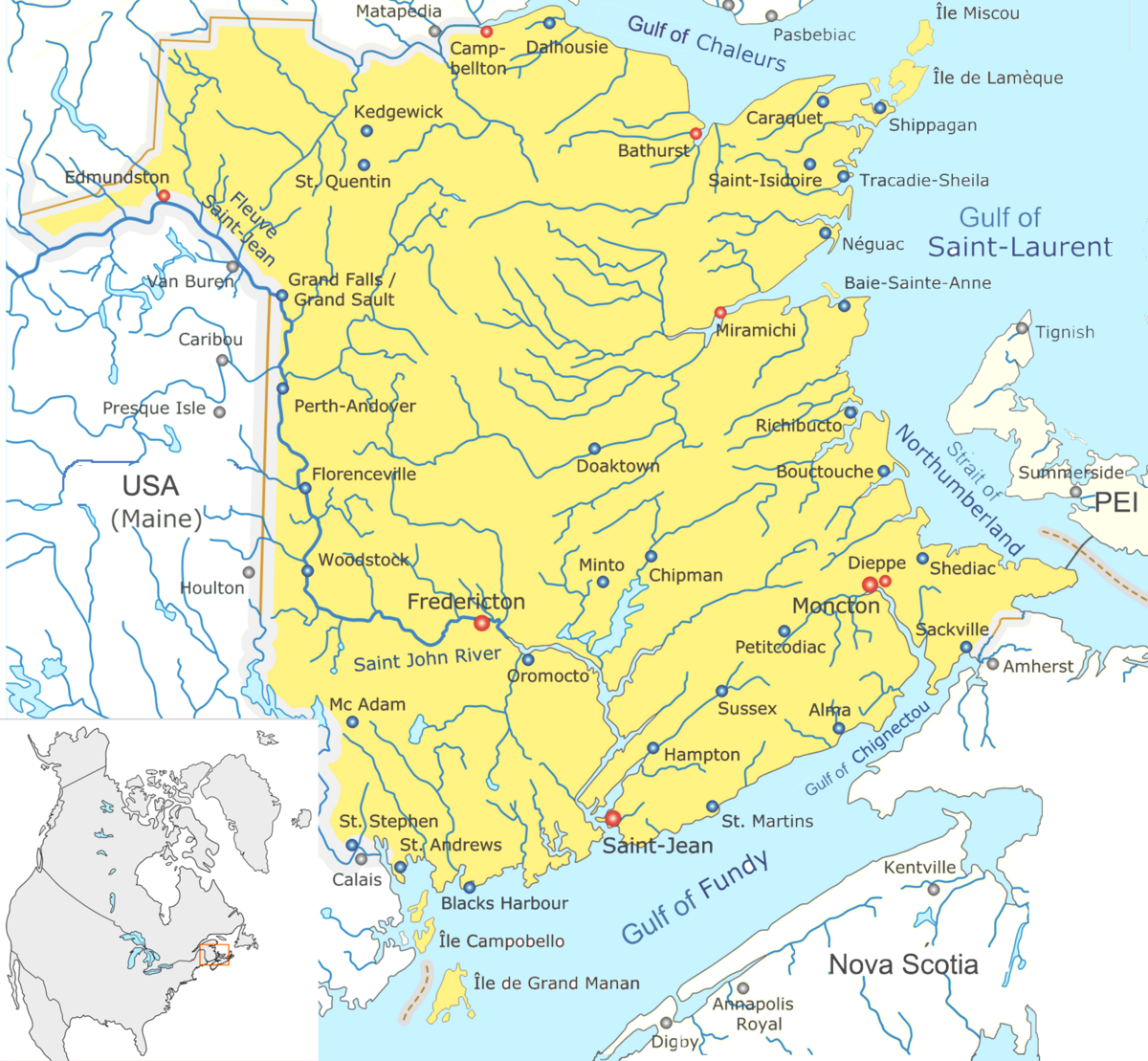 Bodies Of Water Canada Map.List Of Bodies Of Water Of New Brunswick Wikipedia