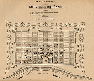 History of New Orleans - French diagram of New Orleans grid (1763), centered at Place d'Armes (Jackson Square) along the Fleuve St. Louis (Mississippi River).