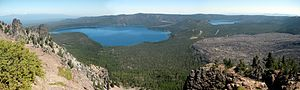 Newberry National Volcanic Monument - Panorama of Newberry National Volcanic Monument, with obsidian flow on right