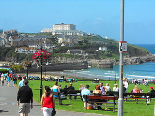 Newquay town, civil parish, seaside resort and fishing port in Cornwall, England
