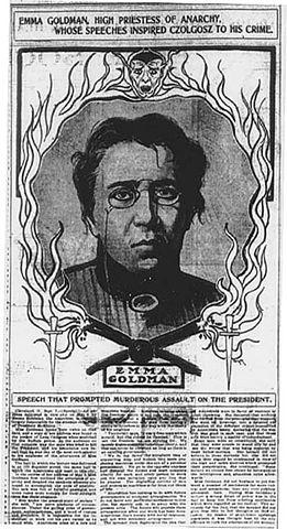 Пропагандистский материал против Гольдман, называющий её «верховной жрицей анархии, вдохновившей Чолгоша на его преступление».