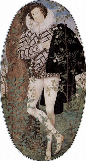 English Renaissance - Young Man Among Roses, portrait miniature by Nicholas Hilliard, 1588, V&A. Believed to be the Earl of Essex
