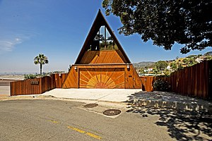 A-frame house - An A-frame house owned and restored by Nicky Panicci in the Hollywood Hills. It is a striking example of an architectural A-frame.