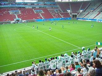Globacom - Nigerian supporters in GLO-Shirts at 2010 FIFA U-20 Women's World Cup