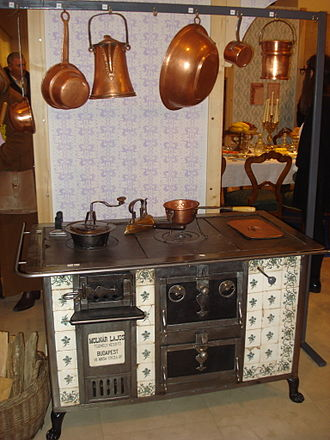 Kitchen stove - A 19th-century stove made in Budapest exhibited in the  Međimurje County Museum, Croatia, during the Night of Museums in 2015.