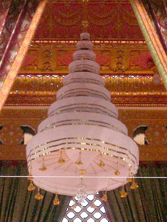 Royal Nine-Tiered Umbrella - The Royal Nine-Tiered Umbrella over the funeral pyre of King Bhumibol Adulyadej, inside the royal crematorium at Sanam Luang (2017).