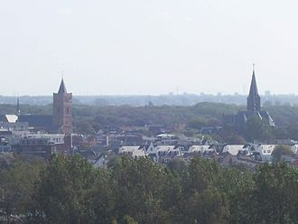 Noordwijk - View over Noordwijk-Binnen, with two church towers.