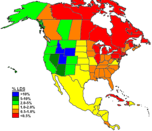 The Church of Jesus Christ of Latter-day Saints membership statistics (Canada) - The Church of Jesus Christ of Latter-day Saints membership in North America as a percentage of total population of 2012.