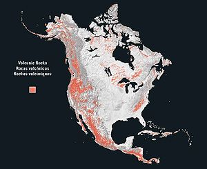 Geology of North America - On a map showing only volcanic rocks, the west coast of North America shows a striking continuous north-south structure, the American Cordillera.