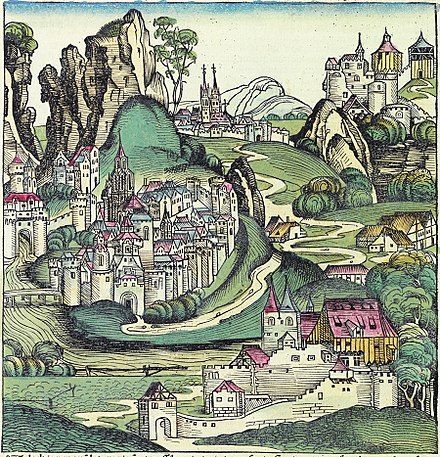 Wallachia as pictured in the 1493 Nuremberg Chronicle Nuremberg chronicles f 270v (Valachia).jpg