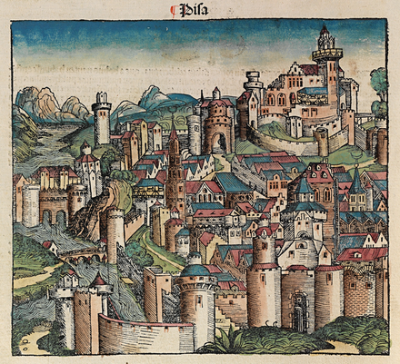 Idealized depiction of Pisa from the 1493 Nuremberg Chronicle. Nuremberg chronicles f 45v 1.png