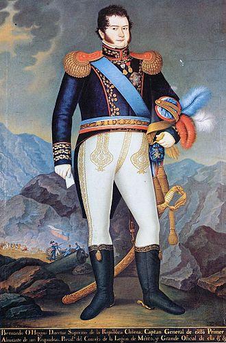 Legion of Merit of Chile - Bernardo O'Higgins wearing the sash, badge and breast star of a Grand Officer of the Legion of Merit of Chile. Portrait by José Gil de Castro