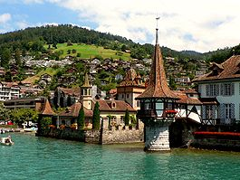 Oberhofen Castle and lake front