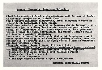 Jewish Combat Organization - JCO's appeal to the Polish people issued on 23 April 1943
