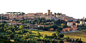 English: Panorama of Offagna, Ancona, Italy It...