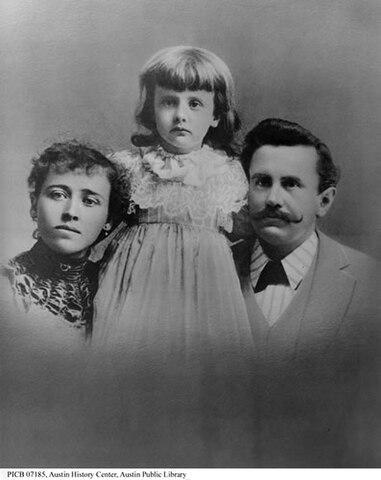Уильям Портер с семьёй (дочь Маргарет и супруга Атоль) в начале 1890-х