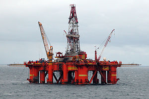 Oil drilling rig in the North Sea.