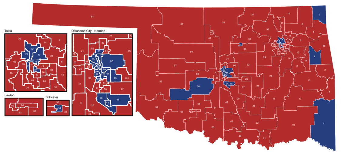 Oklahoma House of Representatives districts after the November 6, 2018 elections. Democratic Party Republican Party Oklahoma House of Representatives map November 2018.png