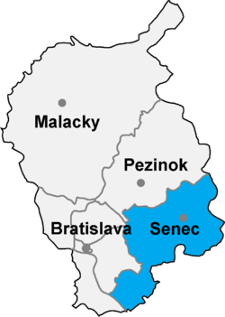 Location of Senecas apriņķis