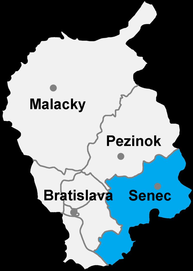 Okres Senec in der Slowakei