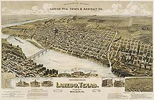 Laredo, Texas in 1892. Perspective Map of the City of Laredo, Texas.