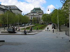 Den Nationale Scene - Ole Bull's Plass and Den Nationale Scene in Bergen Norway
