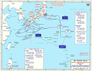 A map outlining the Japanese and U.S. (but not other Allied) ground forces scheduled to take part in the battle for Japan. Two landings were planned: (1) Olympic—the invasion of the southern island, Kyūshū, (2) Coronet—the invasion of the main island, Honshū.