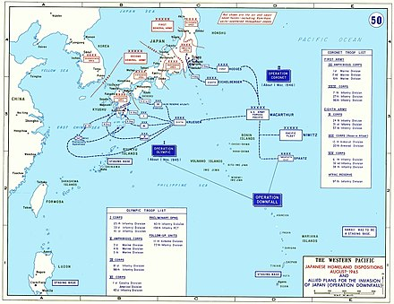 A map outlining the Japanese and U.S. (but not other Allied) ground forces scheduled to take part in the ground battle for Japan. Two landings were planned: (1) Olympic - the invasion of the southern island, Kyushu, (2) Coronet - the invasion of the main island, Honshu. Operation Downfall - Map.jpg