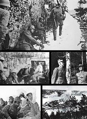 По часовой стрелке, начиная с левого верхнего угла — немецкая пехота; норвежский король Хокон VII вместе с сыном Улафом в Молде во время немецкой бомбардировки города; норвежская крепость Оскарсборг под ударами немецких бомбардировщиков; немецкая пехота в боях под Нарвиком; норвежское 75-мм орудие под Нарвиком