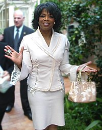 Oprah Winfrey at the Hotel Bel Air in Los Angeles during one of her 50th birthday celebrations.