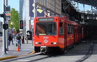 Orange Line (San Diego Trolley) - Orange Line train at Downtown San Diego America Plaza (January 2008).
