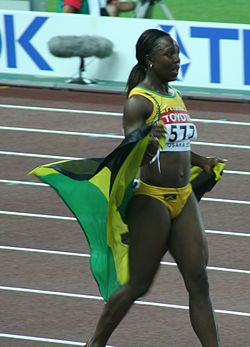 Osaka07 D3A Veronica Campbell celebrating.jpg