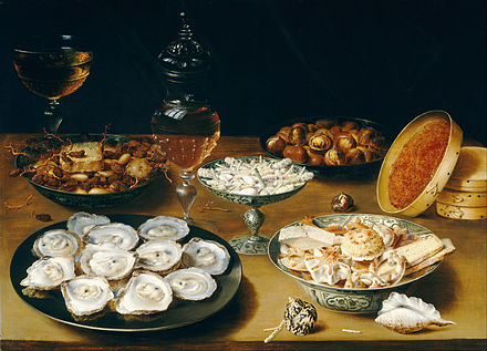 Osias Beert the Elder, from Antwerp. Dishes with Oysters, Fruit, and Wine, c. 1620/1625 Osias Beert the Elder - Dishes with Oysters, Fruit, and Wine - Google Art Project.jpg