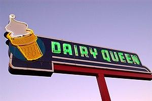 Vintage neon Dairy Queen sign, Ottawa, Canada.
