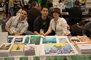 Amy Kim Ganter - Amy Kim Ganter (right) with Ovi Nedelcu (left), and Kazu Kibuishi (center).