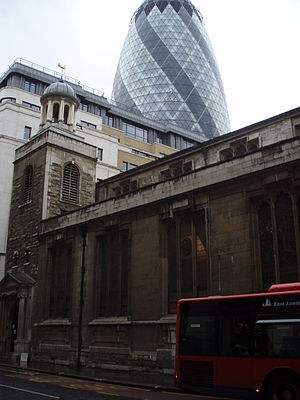 Aldgate - St Katharine Cree, with 30 St Mary Axe behind