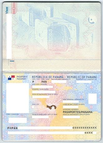 Panamanian passport - Data Page of a Panama biometric passport