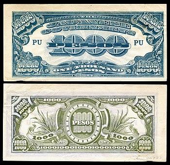 Philippine peso japonês emitido pelo governo