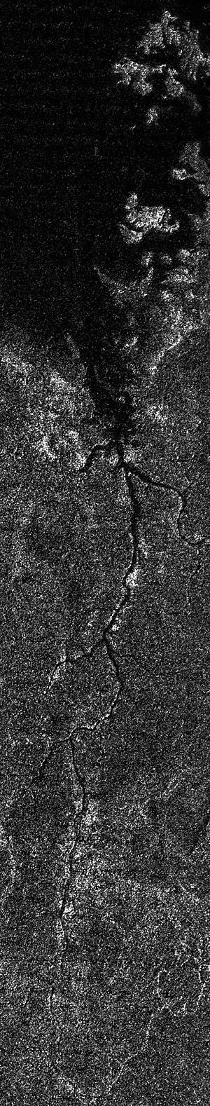 Vid Flumina - Synthetic aperture radar image mosaic of Titan's north polar region
