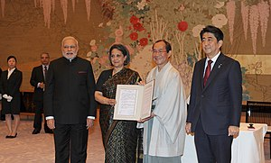 PM Modi and PM Shinzo Abe witness the signing of the Varanasi-Kyoto Partner city affiliation MoU.jpg