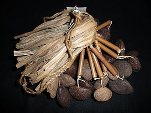 Rattle (percussion instrument) - Rattle from Papua New Guinea, made from leaves, seeds and coconut shell, to be tied around a dancer's ankle