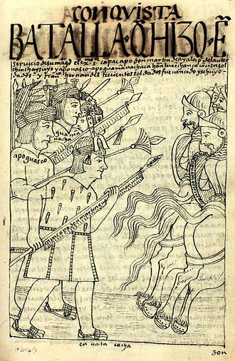 Battle of Ollantaytambo - Combat between Inca and Spanish forces as depicted by Guaman Poma