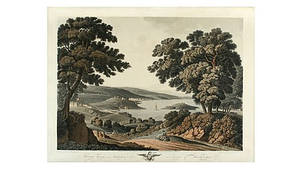 View of the Potomac River, Analostan Island, Georgetown, and, in the distance, buildings of the nascent City of Washington. (Engraving based on an 1801 watercolor by George Jacob Beck) PR Georgetown or City of Washington 1801 by Beck.jpg