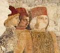 Palazzo schifanoia, salone dei mesi, 04 aprile (f. del cossa), Borso assiste al Palio di San Giorgio e dà moneta al buffone Scoccola 04 3.jpg