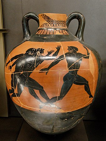A Greek vase from 500 BC depicting a running contest Panathenaic amphora Kleophrades Louvre F277.jpg