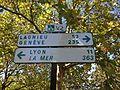 Panneau Lyon-Genève-Lagnieu-La mer au Parc de Miribel-Jonage.JPG