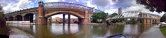 Castlefield - A panorama of Castlefield over the Bridgewater Canal