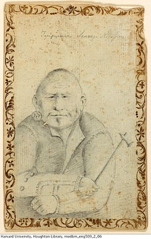 Nipissing First Nation - Sketch of an 18th-century Nipissing man by Henry Hamilton.