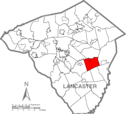 Map of Lancaster County highlighting Paradise Township