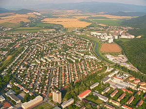 Industrial district - Partizánske in Slovakia – an example of a typical planned industrial city founded in 1938 together with a shoemaking factory in which practically all adult inhabitants of the city were employed.